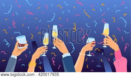 Cartoon Color Many Hands Holding Glasses. Vector