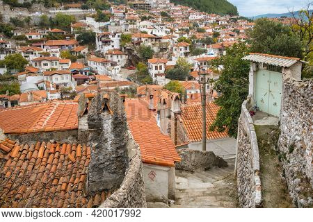 Old houses in the old town of Mugla city, Turkey. Tile roofs of the traditional turkish houses