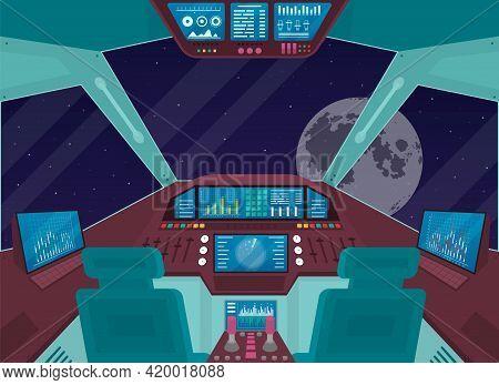 Cartoon Color Spacecraft Shuttle Ship Interior Inside Concept. Vector