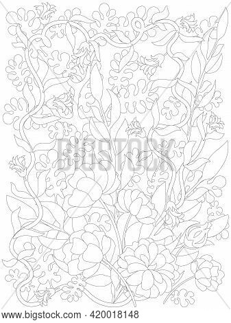 Adult Coloring Page. Botanical Weave Floral Mix. Flowers Coloring