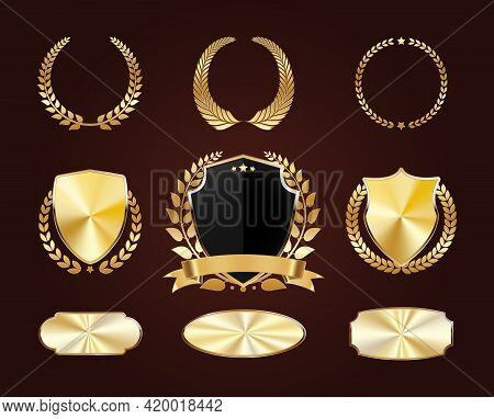 Set Of Golden Shields. Luxury Gold Labels. Glossy Metal Badges. Collection Of Seals, Laurel. Vector.