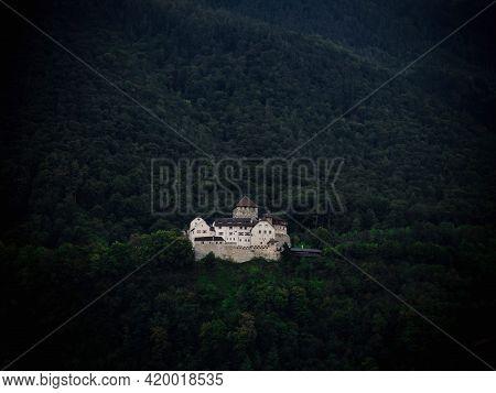 Panorama View Of Idyllic Charming Rural Remote Old Historic Medieval Hilltop Castle Schloss Vaduz Li