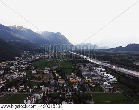 Aerial Panorama View Of Industrial Area Along Rhine River Valley Outskirts Of Vaduz Liechtenstein, A
