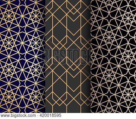 Set Of Arabic Seamless Patterns. Islamic Abstract Ornaments. Vector.