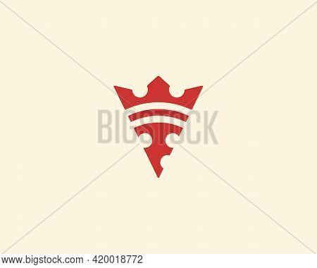 Pizza King Logo Design Template. Universal Vector Crown Logotype Illustration For Pizzeria, Restaura