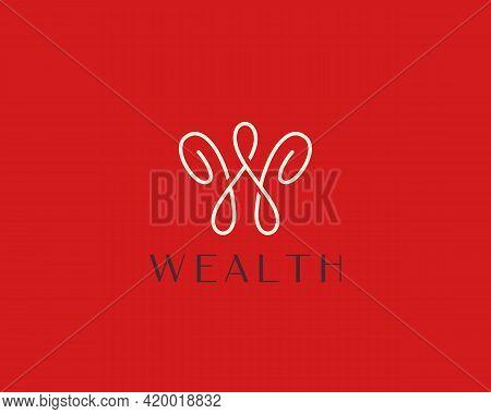 Abstract Graceful Letter W, Crown Logo Design. Linear Creative Monogram Symbol. Universal Elegant Ic