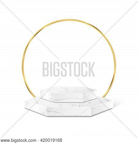 Marble Polygon Product Podium Gold Frame Isolated