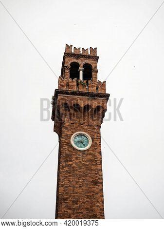 Closeup View Of Torre Dell Orologio Brick Church Bell Clock Tower On Campo Santo Stefano In Murano V