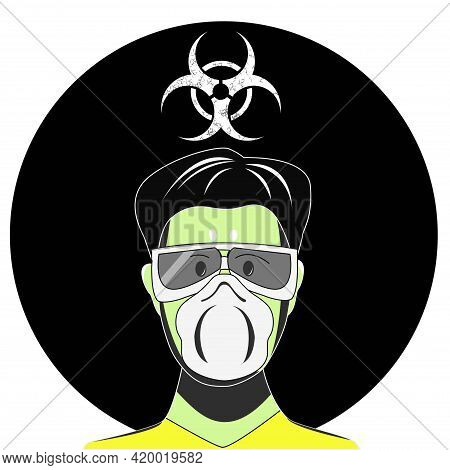 Biological Threat. Danger Of Infection By Bacteria And Viruses. A Man In A Protective Mask. Biohazar