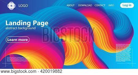 Landing Page. Flow Shape. Fluid Background. Colorful Gradient. Vector.