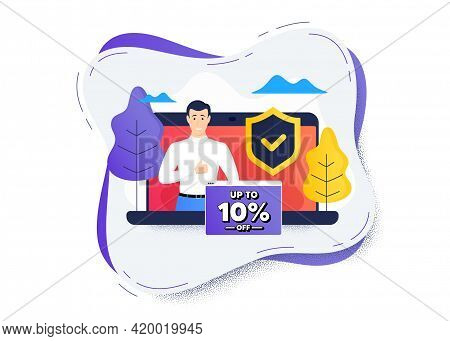Up To 10 Percent Off Sale. Protect Computer Online Icon. Remote Education Class. Discount Offer Pric