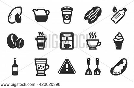 Cooking Cutlery, Milk Jug And Takeaway Icons Simple Set. Ice Cream, Water Bottle And Pecan Nut Signs