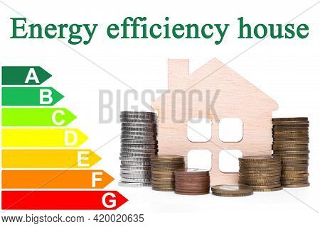 Stack Of Coins And House Model Showing Energy Efficiency Rating House.