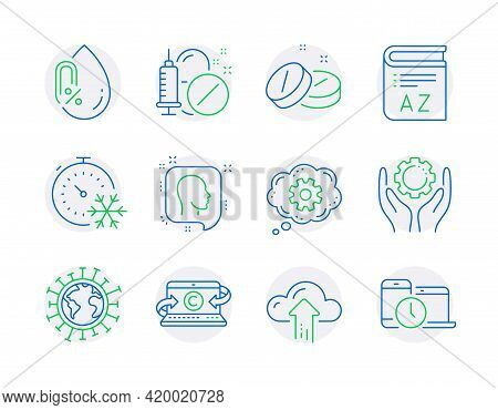 Science Icons Set. Included Icon As Freezing Timer, Coronavirus, No Alcohol Signs. Vocabulary, Head,