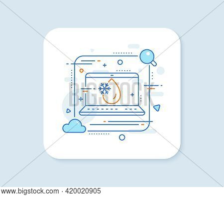 Freezing Water Line Icon. Abstract Vector Button. Freeze Cold Temperature Sign. Fridge Function Symb