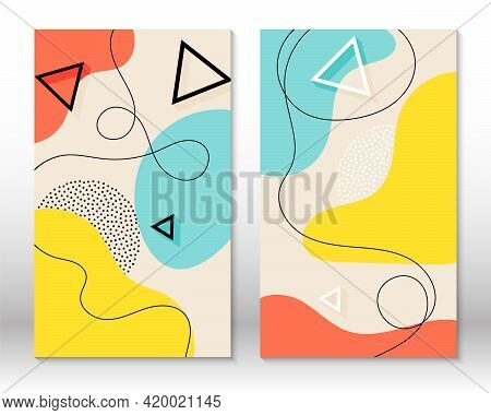 Set Of Doodle Fun Patterns. Hipster Style 80s-90s. Memphis Elements. Fun Background.