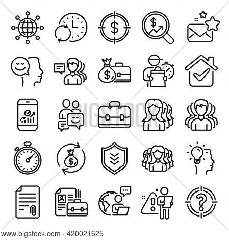 Business User Line Icons. Group, Profile And Teamwork Icons. Portfolio, Timer And Security Shield Sy
