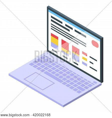 Research Scientist Laptop Icon. Isometric Of Research Scientist Laptop Vector Icon For Web Design Is