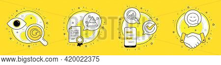 Seo Analysis, Reload And Pyramid Chart Line Icons Set. Licence, Cell Phone And Deal Vector Icons. Sm