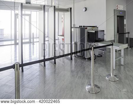 Metal Detector Frame And X-ray Machine For Checking Luggage And Hand Baggage At Entrance To Public B