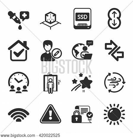 Set Of Business Icons, Such As Synchronize, Elevator, Meeting Time Symbols. Ssd, Augmented Reality,