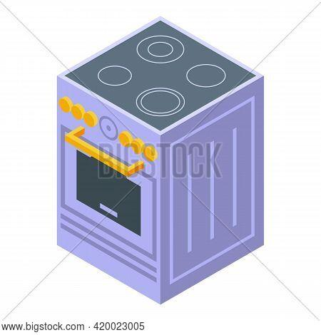 Kitchen Induction Stove Icon. Isometric Of Kitchen Induction Stove Vector Icon For Web Design Isolat
