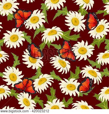 Vector Pattern Of Daisies And Butterflies.butterflies And Daisies On A Colored Background In A Seaml