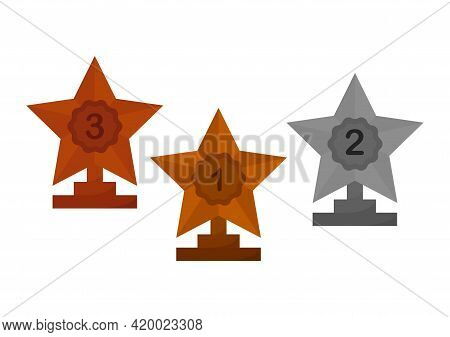 Illustration Of Gold, Silver And Bronze Star Trophy, Gold Trophies For 1st Place, Silver Trophies Fo