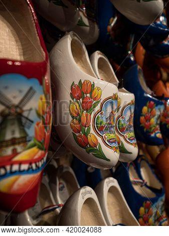 A Selection Of Traditional Typical Dutch Footwear Klompen Klomp Clog Shoes In Zaanse Schans Zaandijk