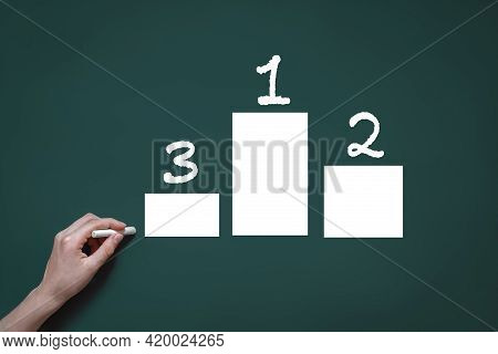 The Graph Is Drawn In Chalk On A Blackboard, Hand With Chalk, The Concept Of Analysis, Statistics, F