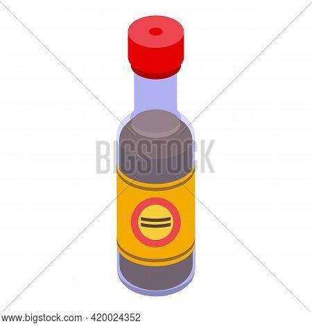 Wok Menu Sauce Bottle Icon. Isometric Of Wok Menu Sauce Bottle Vector Icon For Web Design Isolated O