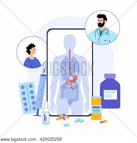 Stomach Logo Vector Illustration. Online Clinic Application For Phone. Consultation With Doctor. Hum