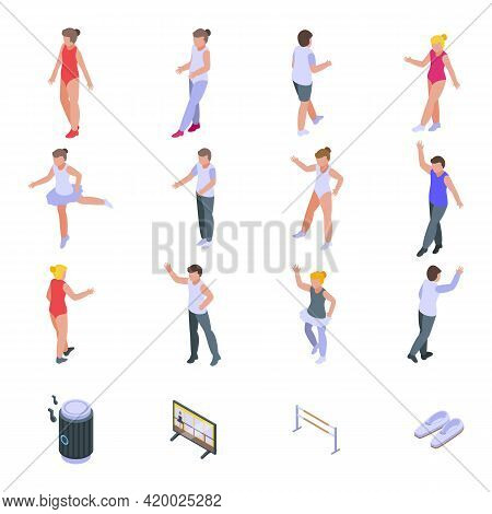 Ballet School Icons Set. Isometric Set Of Ballet School Vector Icons For Web Design Isolated On Whit