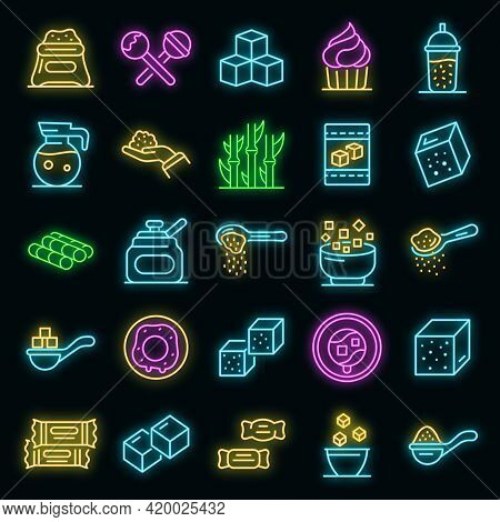 Sugar Icons Set. Outline Set Of Sugar Vector Icons Neon Color On Black