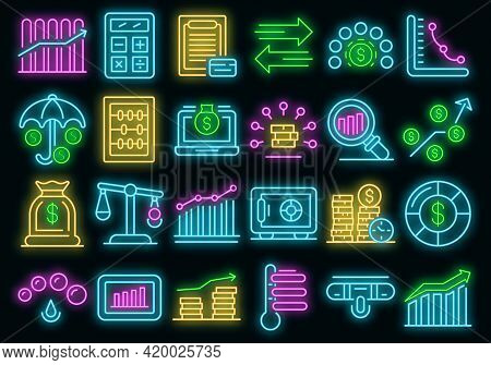 Credit Score Icons Set. Outline Set Of Credit Score Vector Icons Neon Color On Black