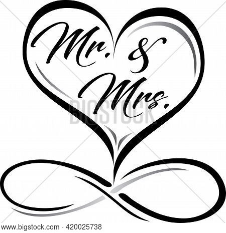 Mr. And Mrs. Heart Infinity Graphic Black And White