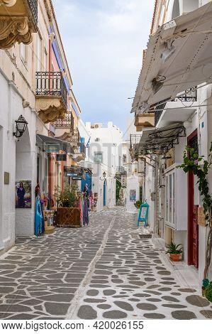 Paros, Greece - September 28, 2020: Greek Street With Whitewashed Pavement In Old Town Of Parikia On