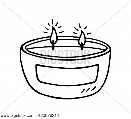 Burning Aroma Candle With Two Wicks Isolated On White Background. Vector Hand-drawn Illustration In