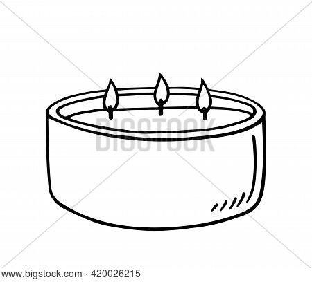 Burning Aroma Candle With Three Wicks Isolated On White Background. Vector Hand-drawn Illustration I