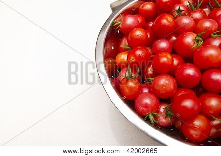 Stainless Steel Collander Of Fresh Tomatoes