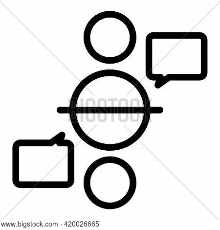 Human Resources Chat Icon. Outline Human Resources Chat Vector Icon For Web Design Isolated On White