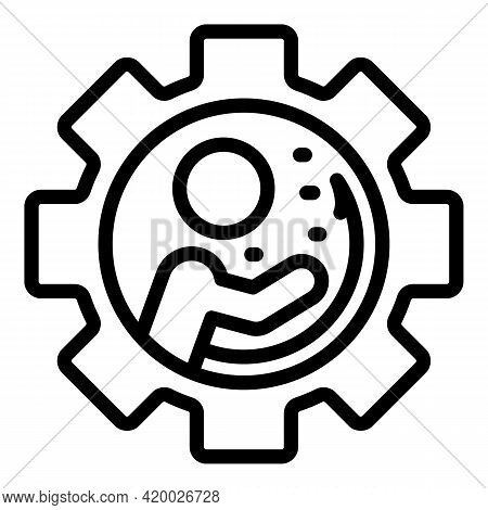 Human Resources Gear Icon. Outline Human Resources Gear Vector Icon For Web Design Isolated On White