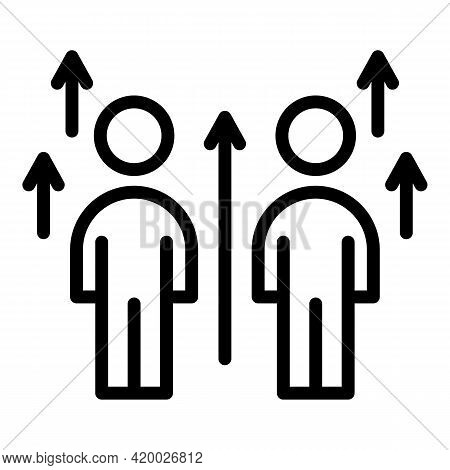 Human Resources Level Up Icon. Outline Human Resources Level Up Vector Icon For Web Design Isolated