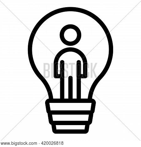Human Resources Bulb Icon. Outline Human Resources Bulb Vector Icon For Web Design Isolated On White