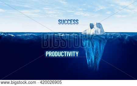 Discover Your Hidden Productivity To Be Successful. Motivational Concept With Iceberg - Bigger Part