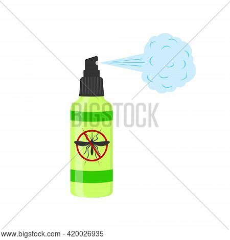 Insect Repellent Lotion With Spray Steam And Anti Mosquito Sign Isolated On White Background. Vector