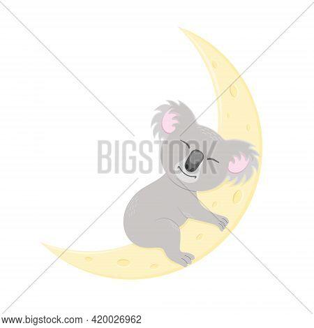 Cute Koala Sleeping On Moon. Sweet Australian Bear Character In Childish Style For Nursery Or Baby S