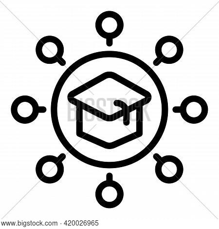 Graduation Hat Scheme Icon. Outline Graduation Hat Scheme Vector Icon For Web Design Isolated On Whi