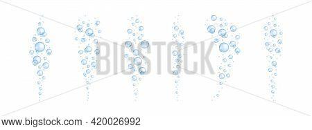 Blue Underwater Oxygen Bubbles Set. Soap Or Cleanser Foam, Aquarium Or Sea Water Stream Texture, Bat