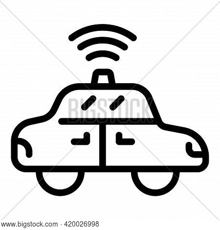 Driverless Car Icon. Outline Driverless Car Vector Icon For Web Design Isolated On White Background